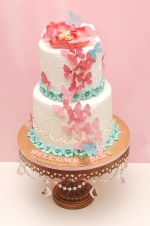 White_and_coral_baby_shower_cake